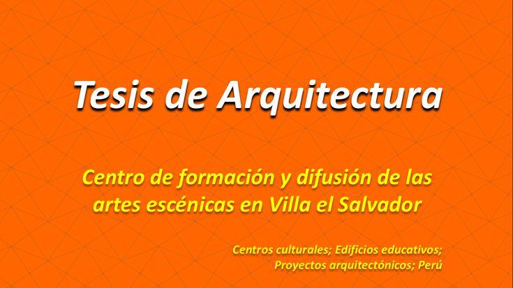Tesis de Arquitectura 👉Centro de formación y difusión de las artes escénicas en Villa el Salvador http://hdl.handle.net/10757/622549 Temas: Centros culturales; Edificios educativos; Proyectos arquitectónicos; Perú