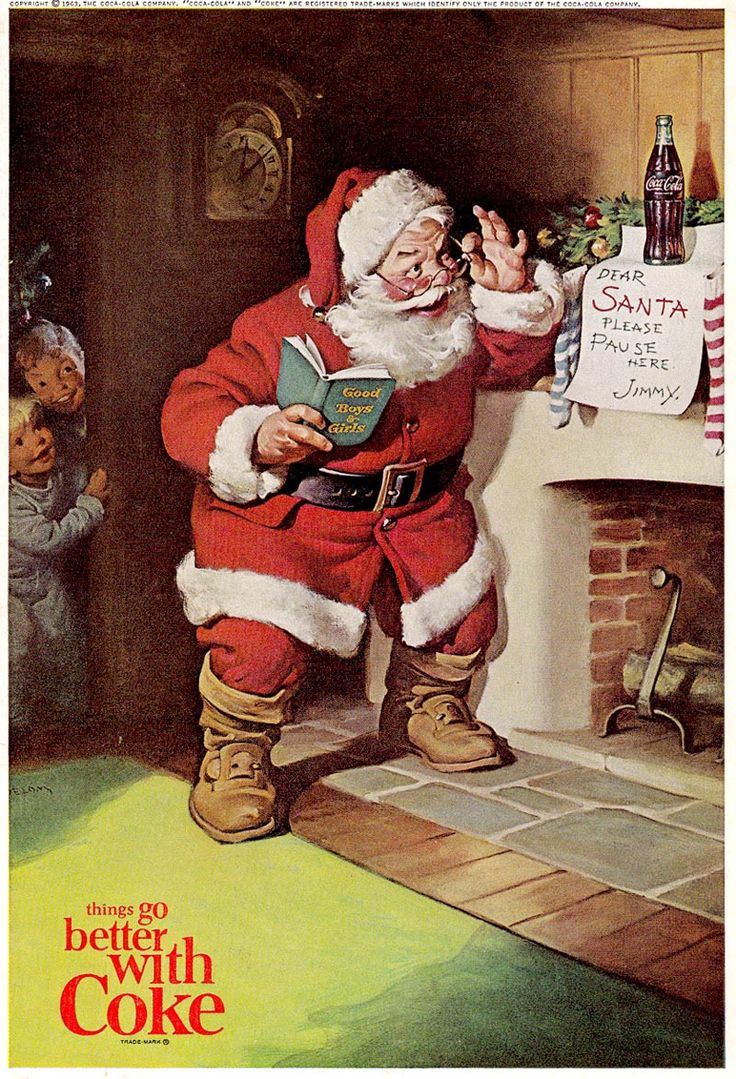 Santa illustration for Coca-Cola, Haddon Sundblom, 1963