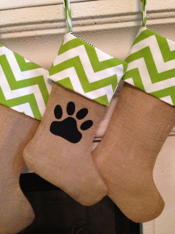Dog Stocking Small Chevron Burlap Christmas  by cococouture, $25.00