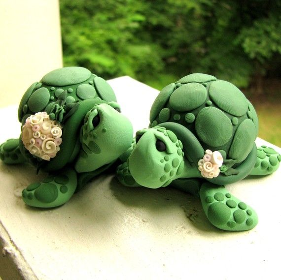 Turtle wedding cake topper: Wedding Cake Toppers, Turtle Cakes, Turtles Wedding Cakes, Turtles Cakes, Delta Zeta, Wedding Toppers, Polymer Clay, Wedding Cakes Toppers, My Wedding