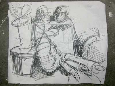 Teaching a still life drawing class. Drawing two: From a quick sketch to a long drawing.