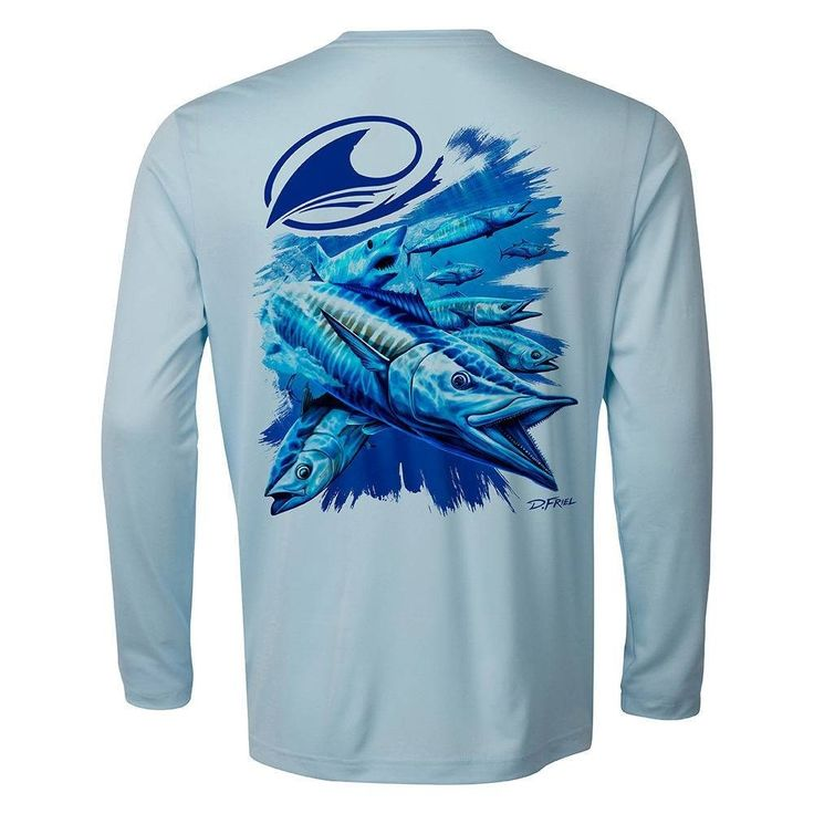 Excited to share the latest addition to my #etsy shop: Mens and Womens LIMITED TIME Pre-Order! Fish Art Performance Shirt - Soft - Recycled - Salt Weapons in Ice Blue by Dennis Friel http://etsy.me/2jnDmoA