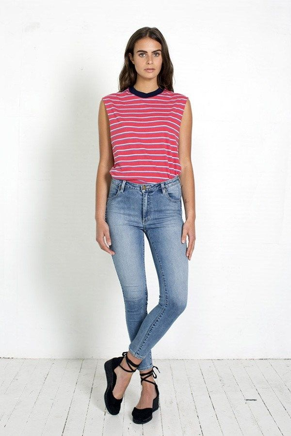 SATURDAY STRIPE MUSCLE TEE by ROLLAS