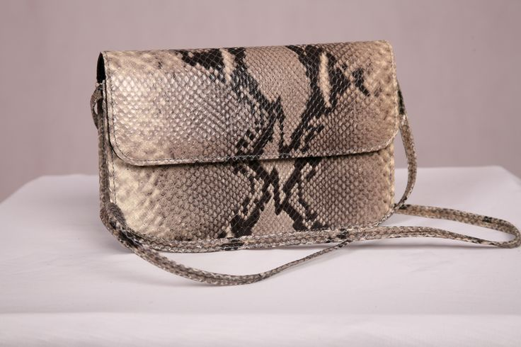 Premium Leather Italian Grey Water Python Print Shoulder Bag handcrafted in Australia by Louis Ferrier.