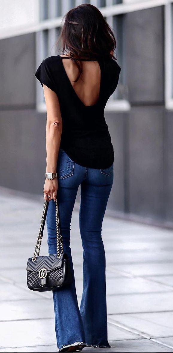 Lindo! Jeans flare + decote nas costas
