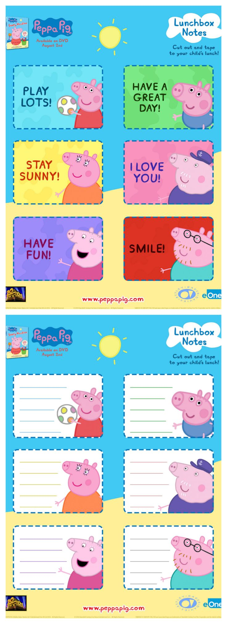 Free Peppa Pig Lunch Box Notes