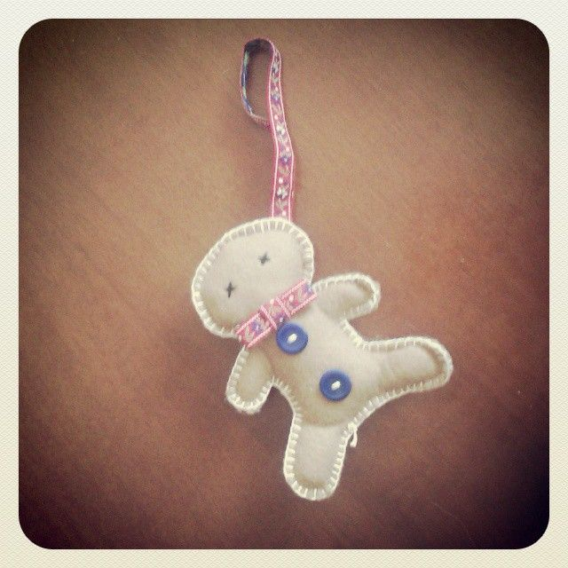 Gingerbread man - Christmas decoration - made for my daughter Sian #felt #craft