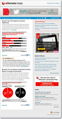 tay on top of trends with the industry's premier must-read daily. Data, insights and perspective—not opinions—all at a glance with eMarketer signature charts. Essential for brand marketers, media execs and publishers, the eMarketer Daily presents three new articles each weekday.