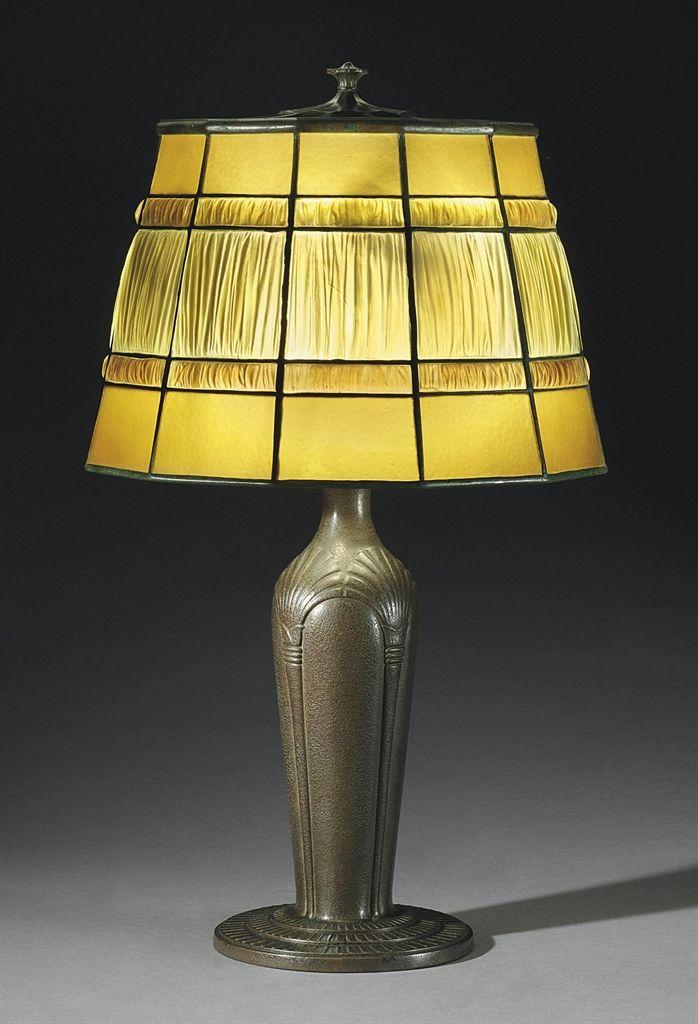 Amazing TIFFANY STUDIOS   A U0027LINENFOLDu0027 TABLE LAMP, CIRCA 1915