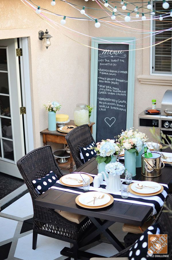 Outdoor Decorating Ideas: Globe Lights, an Oversized Frame Chalkboard and a Black and White Table Setting