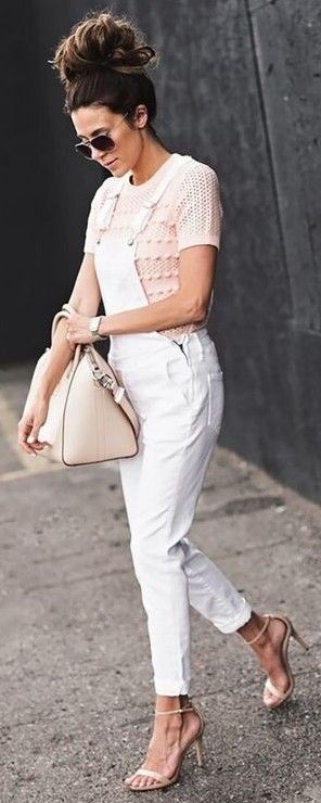 #summer #trending #outfitideas |  Blush Knit + White Overalls