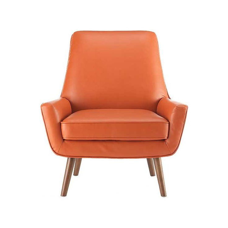 Modern Style Leather And Wood Accent Chair   Seattle Furniture