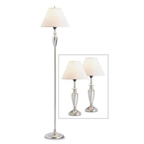"Sleek lines and a classic Colonial silhouette come together beautifully in this striking lamp trio! Whether your decor is historically elegant or ultra-hip, these tasteful silver fixtures are a seamless fit.   2 way switch. Suitable for incandescent and LED light bulbs. Not suitable for 2 or 3 way LED light bulbs.  2 table lamps: 10"" x 10"" x 18"" high;  Floor lamp: 14"" x 14"" x 63"" high.   Floor lamp uses Type A, 100W light bulb or 12W LED light bulb (not included)..."