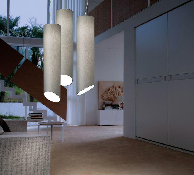 Pank S018 suspension lamp in grey diffusing fabric.
