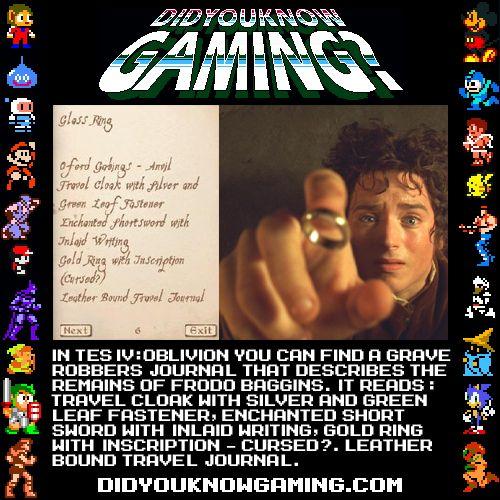 Frodo's equipment - a note in The Elder Scrolls IV: Oblivion.