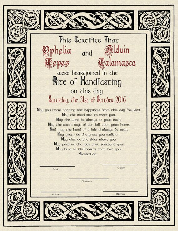 Handfasting pagan wiccan certificate for a wedding