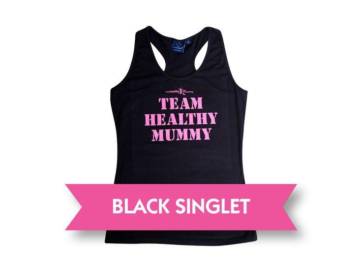 "Singlet Top Black – ""Team Healthy Mummy"" | The Healthy Mummy"