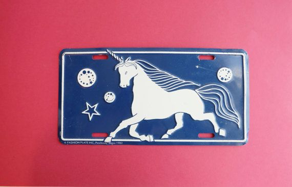 Check out this item in my Etsy shop https://www.etsy.com/listing/512240467/vintage-unicorn-80s-license-plate-cover