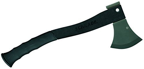 Schrade SCAXE2L Survival Axe Black Handle. For product info go to:  https://all4hiking.com/products/schrade-scaxe2l-survival-axe-black-handle/