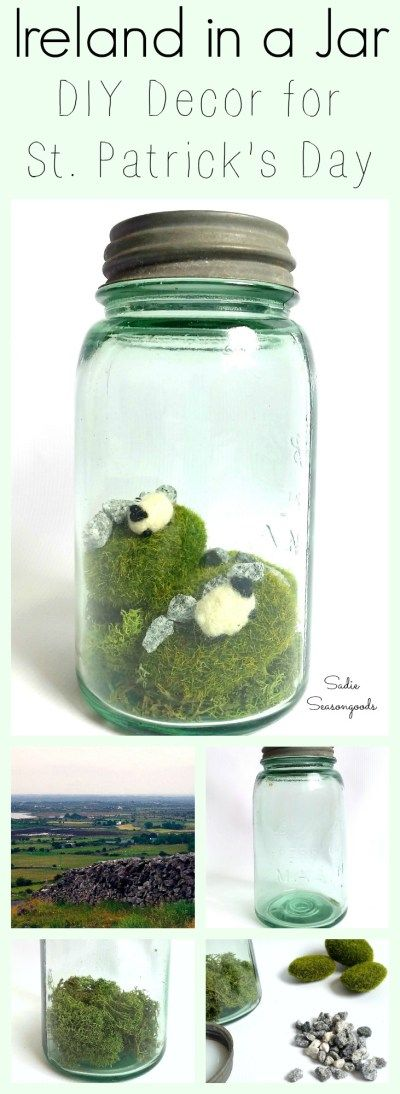 Capture Ireland in a Jar this St. Patrick's Day! Repurpose a vintage green mason jar, and create the rolling green hills of the Irish countryside. Unique and adorable, this is the perfect St. Paddy's DIY craft project. #SadieSeasongoods / www.sadieseasongoods.com