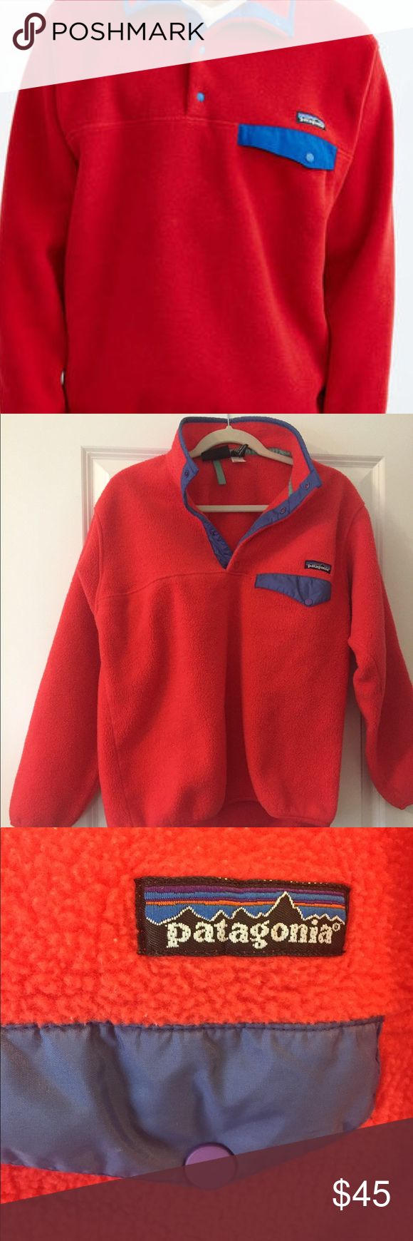 Patagonia Synchilla Fleece Pull-over Patagonia Synchilla Fleece Pull-Over. Red and purple. Some signs of wear on the bottom part of the fleece. The first photo is to only show the item. Patagonia Jackets & Coats