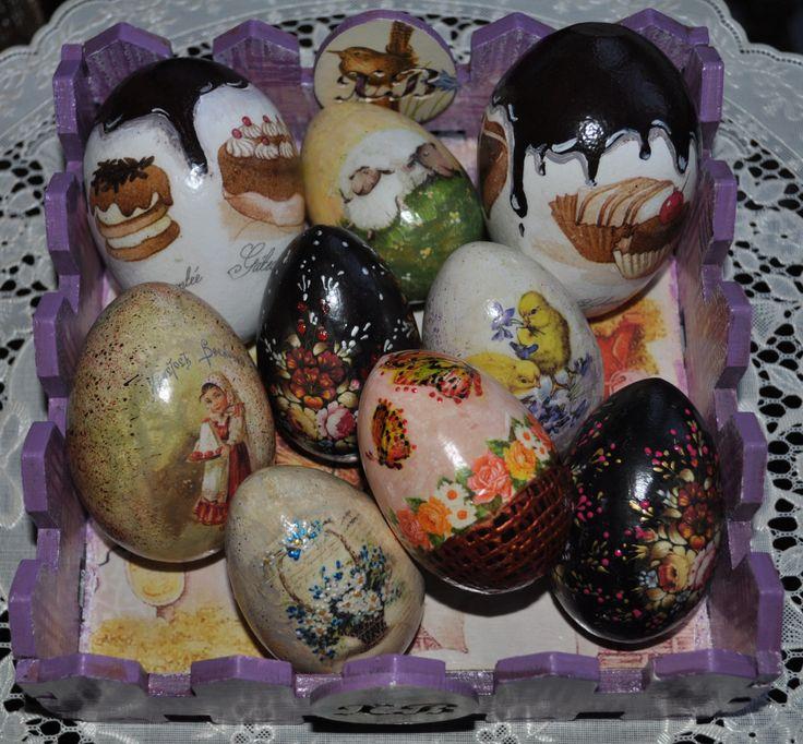 """Пасхальные яйца. Выполнены в технике """"художественный декупаж"""""""