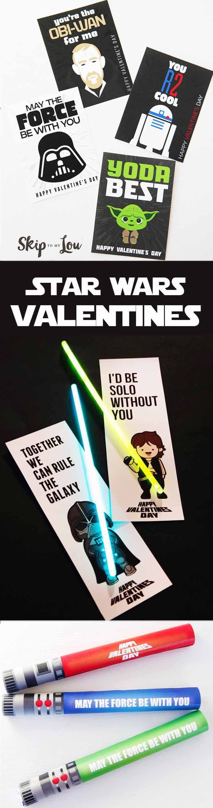 Star Wars valentines! Free to print at home for a Valentine's Day class party. #printable #valentine #valentinesday #starwars