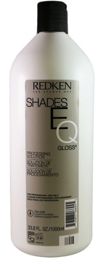 Redken Shades EQ Gloss Processing Solution 33.8 Oz(1000 ml). Processing solution approximately 8 volume, to be used with Redken shades 9B & 9V toner.
