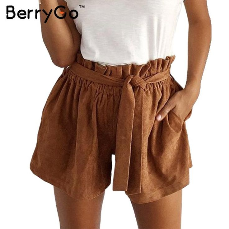BerryGo Fashion suede brown shorts women Retro chic elastic waist sashes elegant shorts Autumn Winter pocket cool shorts 2016