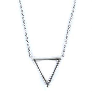 Colgante de plata con cadena forzada muy fina triángulo de hilo de 18 mm