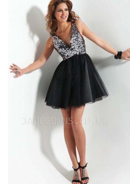 Short Black V-neck Sequin Prom Dresses 2015 - 6108134 - Prom Dresses
