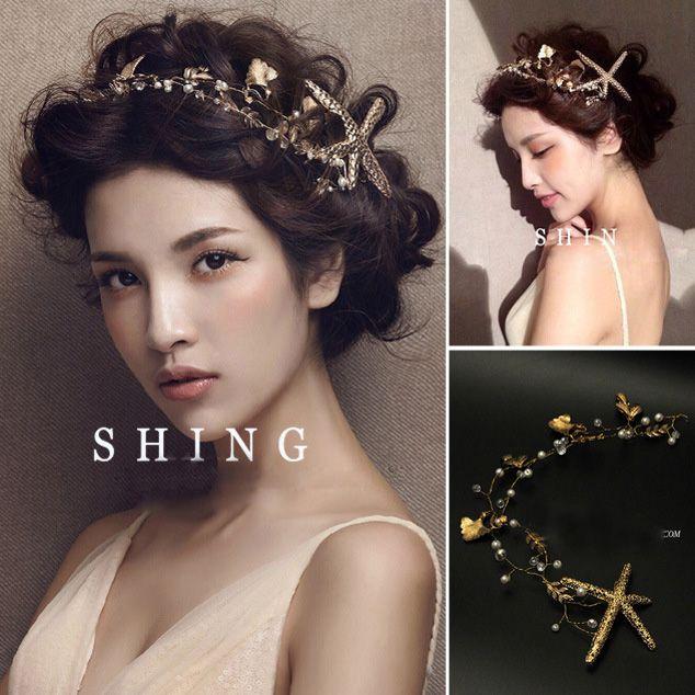 The starfish hairpin pengantin buatan tangan pengantin aksesoris rambut handmade headband tiaras lembut mutiara rambut perhiasan