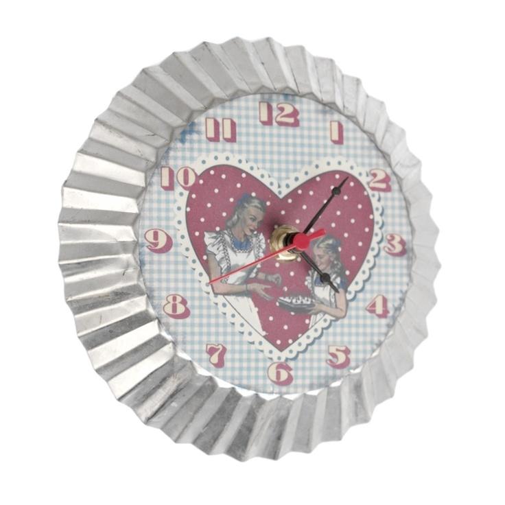 Gingham Magnetic Clock for the fridge