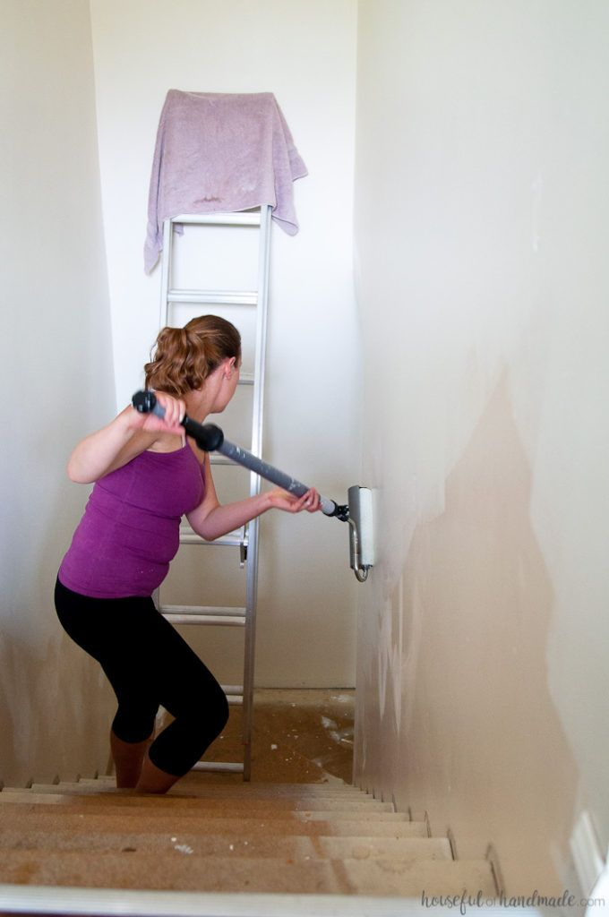 how to paint high stairwells
