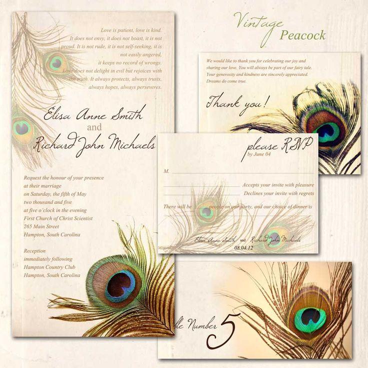 Wedding Invitation   Vintage Peacock By ~ABandIG