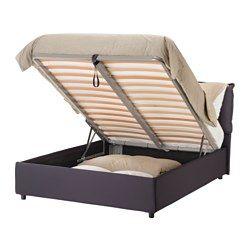 IKEA - GRESSVIK, Struttura letto con contenitore, sabbia, 160x200 cm, , È facile da pulire poiché puoi togliere la fodera e lavarla in lavatrice.Sotto la base a doghe, che si può sollevare, si nasconde un pratico contenitore.