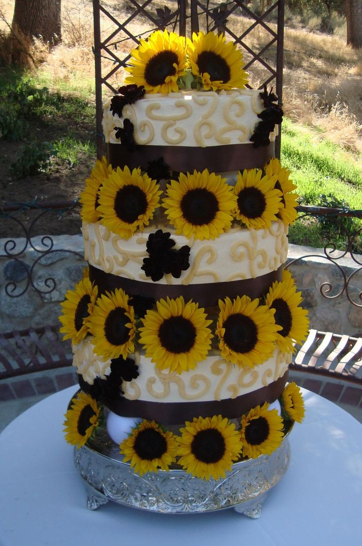 Sunflower themed wedding cake Party and Entertaining