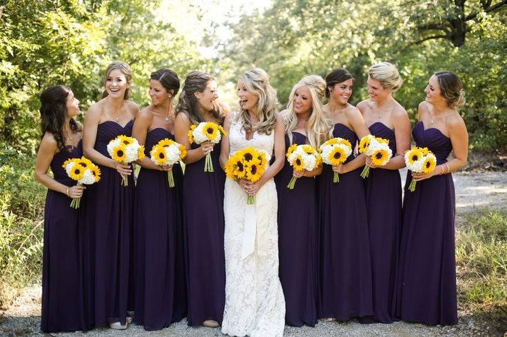 Purple Wedding Ideas - Eggplant Bridesmaid Dresses | Sunflower Themed Wedding