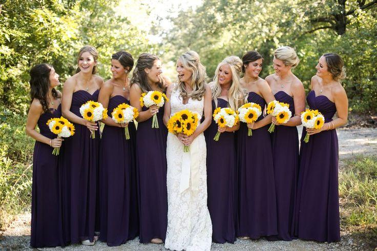 Purple Wedding Ideas - Eggplant Bridesmaid Dresses   Sunflower Themed Wedding