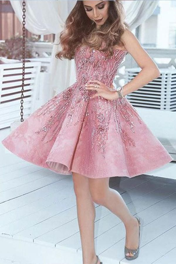 A Line Pink V Neck Lace Beads Satin Knee Length Short Prom Dresses