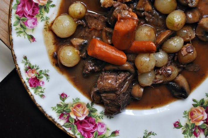Barefoot Contessa Beef Bourguignon, Best reason to buy Barefoot in Paris!  We use fresh pearl onions, exclude mushrooms and add small potatoes instead.  One of our All Time Favorites to make!  Just add Cabernet and all set!