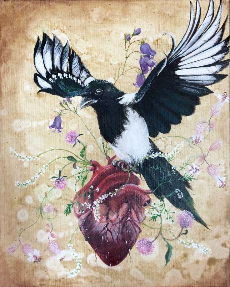 """My wild heart"": acrylic on canvas, 40x50 cm, 2015.  For inquiries contact artist Lisbeth Thygesen at lisbeth_t@live.dk  Thank you <3 :) #popsurrealism"