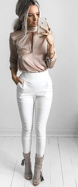 #summer #casual #outfits    Blush + White