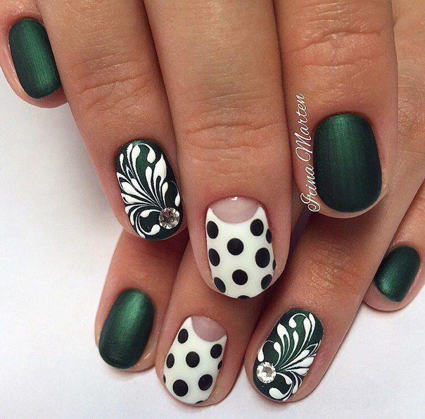 Beautiful nails 2016, Everyday nails, Medium nails, mix match nails, Original nails, Painted nails, Polka dot nails, Spring summer nails 2017