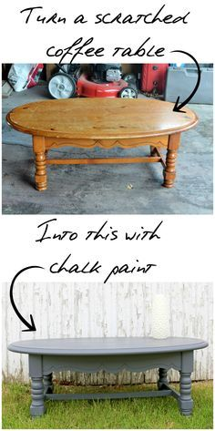 Turn a scratched coffee table into this with chalk paint!