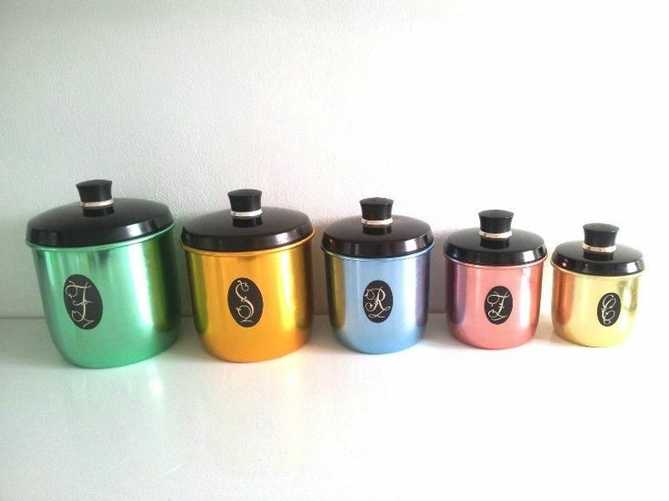 Jason anodised aluminum canister set retro vintage kitchen for Kitchen set aluminium royal
