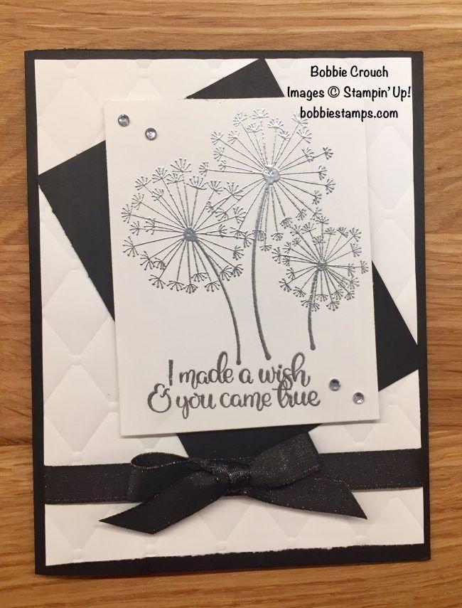 Facebook Live Dandelion Card Bobbie Stamps Dandelion Wishes Stampin Up Dandelion Wish Embossed Cards Flower Cards