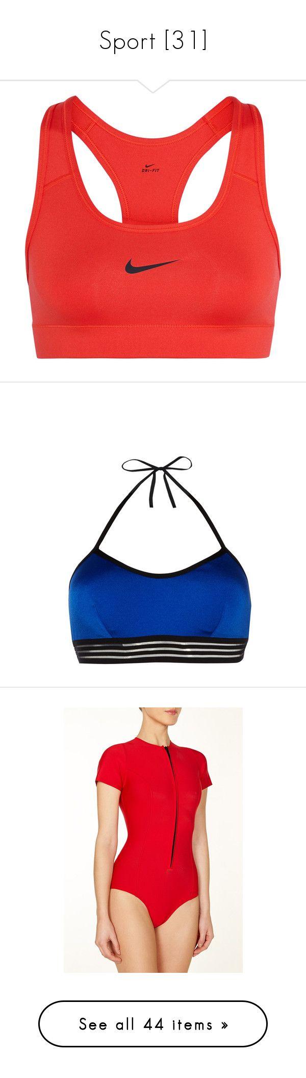 """Sport [31]"" by gdavilla ❤ liked on Polyvore featuring activewear, sports bras, sports bra, bras, nike, tops, red sports bra, stretch jersey, nike sportswear and racer back sports bra"