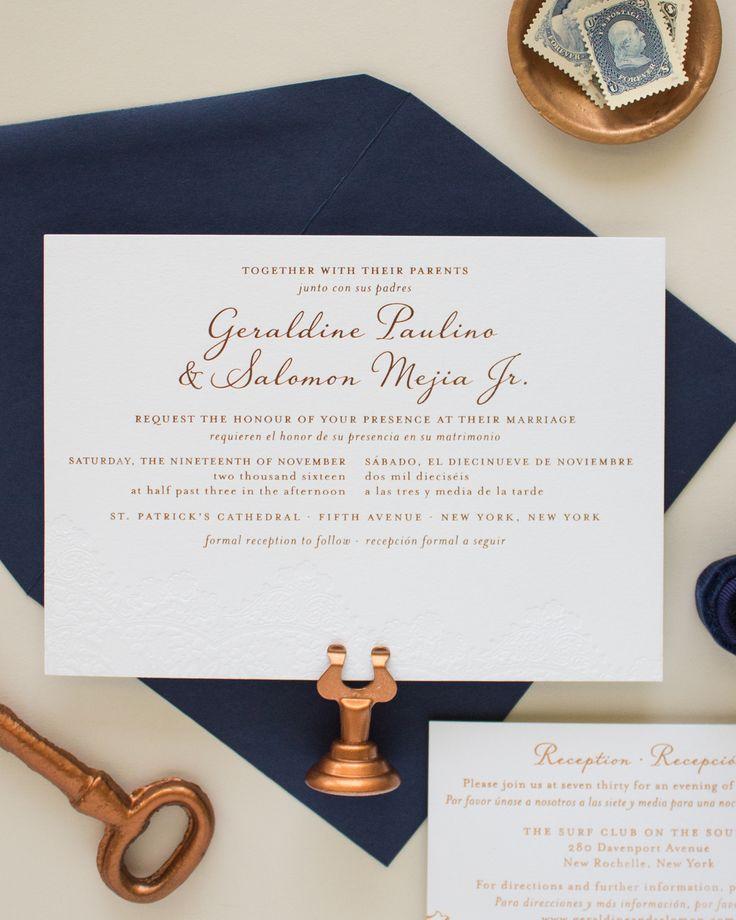 Bilingual Copper Foil and Blind Letterpress Wedding