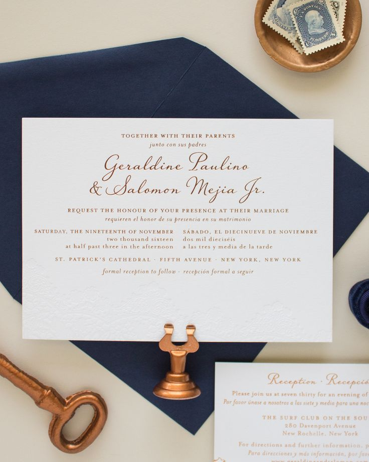 wording for wedding invites evening%0A Bilingual Copper Foil and Blind Letterpress Wedding Invitations